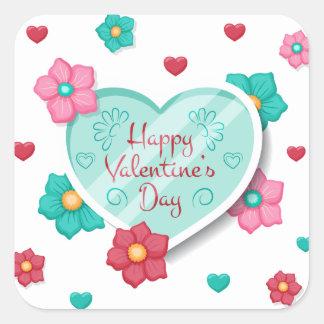 Pegatina floral del el día de San Valentín feliz