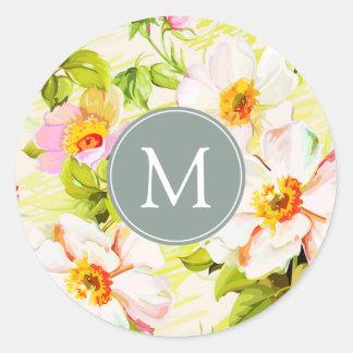 Pegatina floral del monograma R de los Peonies de