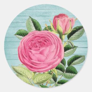 Pegatina floral del vintage color de rosa rosado