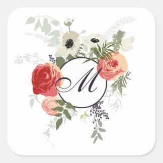 Pegatina floral elegante del monograma el | del