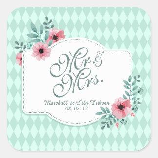 Pegatina floral elegante personalizado del boda