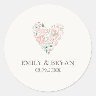 Pegatina floral moderno del boda del corazón