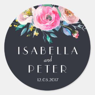 Pegatina floral rosado del boda de los azules