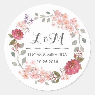 Pegatina floral rústico del favor del boda de la