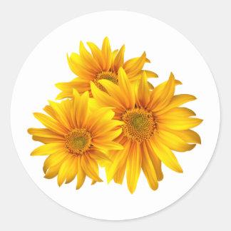 Pegatina floral/sello del girasol amarillo