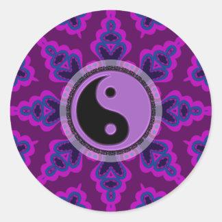 Pegatina geométrico púrpura de Yin Yang de la flor