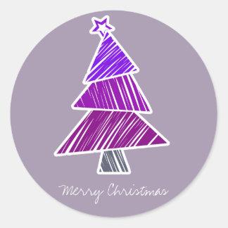 Pegatina incompleto púrpura del árbol de navidad