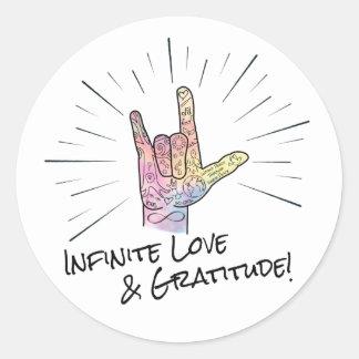 Pegatina infinito del amor y de la gratitud