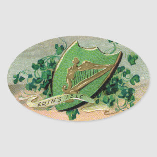 Pegatina irlandés antiguo del óvalo del escudo y
