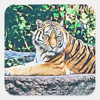 Pegatina lindo de reclinación del tigre
