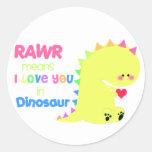 Pegatina lindo RAWR del dinosaurio