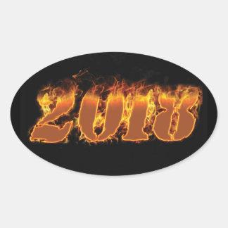 pegatina llameante del Año Nuevo 2018