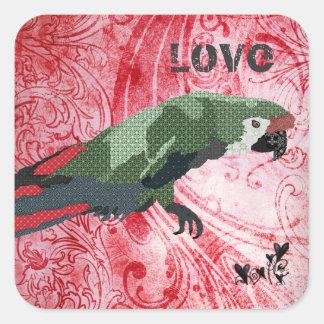 Pegatina majestuoso del amor del Macaw