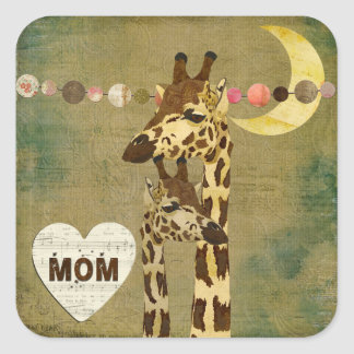 Pegatina maternal del amor de las jirafas de