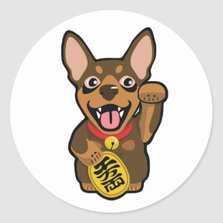 Pegatina mínimo del perro del Pin del chocolate