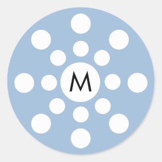 Pegatina moderno del copo de nieve del monograma