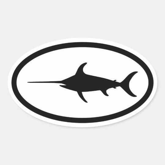Pegatina negro del valo de los peces espadas zazzle for Pegatinas de peces
