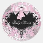 Pegatina negro rosado de la fiesta de bienvenida a