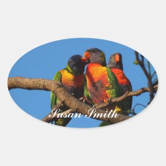 Pegatina oval con nombre - arco iris Lorikeet de