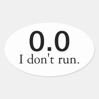 Pegatina Ovalada 0,0 No corro. pegatinas