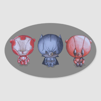 Pegatina Ovalada 3 pequeños héroes