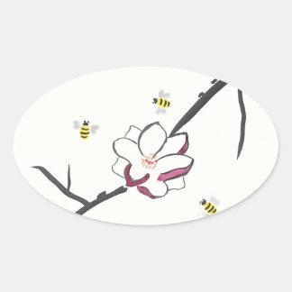 Pegatina Ovalada Abejas de la magnolia y de la miel