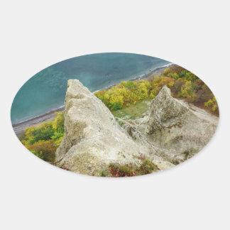 Pegatina Ovalada Acantilados de tiza en la isla Ruegen