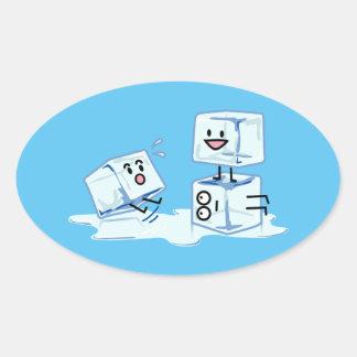 Pegatina Ovalada agua helada del cubo de los cubos de hielo que