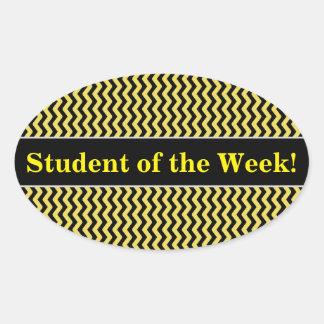 Pegatina Ovalada Alabanza del estudiante + Línea ondulada amarilla