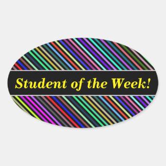 Pegatina Ovalada Alabanza del estudiante + Líneas negras y