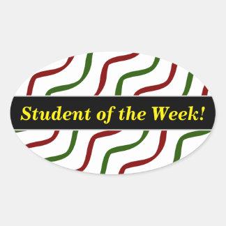 Pegatina Ovalada Alabanza del estudiante + Líneas onduladas rojas y
