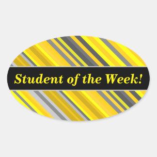 Pegatina Ovalada Alabanza del estudiante + Modelo amarillo y gris