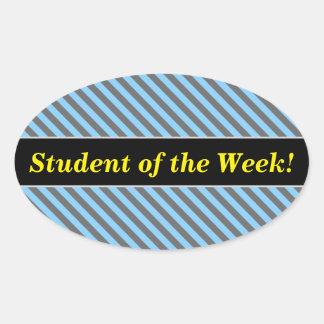 Pegatina Ovalada Alabanza del estudiante + Modelo azul claro y gris