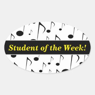 Pegatina Ovalada Alabanza del estudiante + Modelo de muchas notas