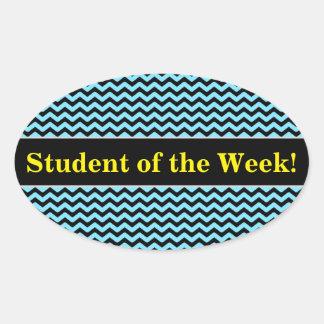 Pegatina Ovalada Alabanza del estudiante + Modelo de onda azul