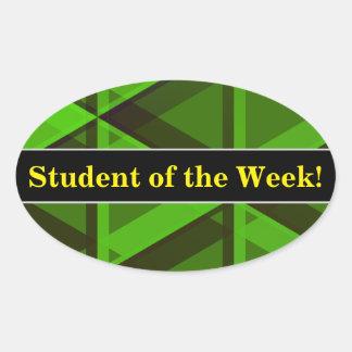 Pegatina Ovalada Alabanza del estudiante + Modelo verde abstracto