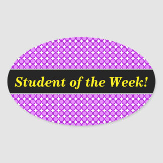 Pegatina Ovalada Alabanza del estudiante + Puntos/modelo púrpuras