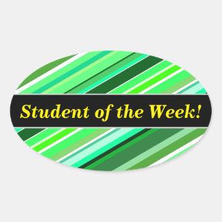 Pegatina Ovalada Alabanza del estudiante + Varios tonos de rayas