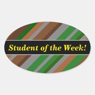 Pegatina Ovalada Alabanza del estudiante + Verde, Brown y rayas