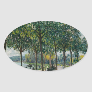 Pegatina Ovalada Allée de los árboles de castaña - Alfred Sisley