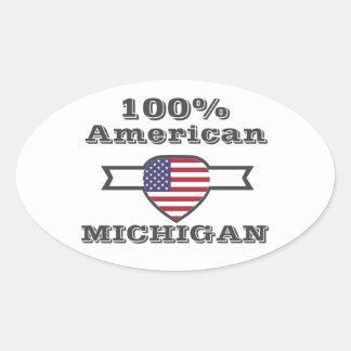 Pegatina Ovalada Americano del 100%, Michigan