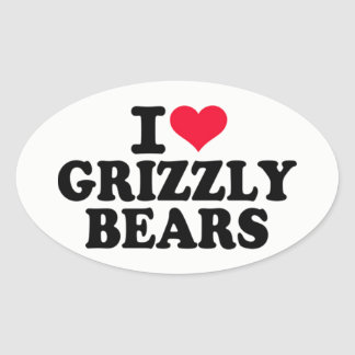 Pegatina Ovalada Amo a osos grizzly