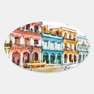 Pegatina Ovalada Amo Cuba