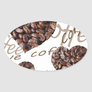 Pegatina Ovalada ¡Amo el café!!