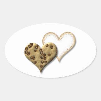 Pegatina Ovalada Amor dulce de la galleta