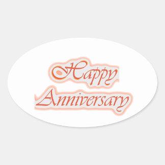 Pegatina Ovalada Aniversario FELIZ: Color de fondo elegante del