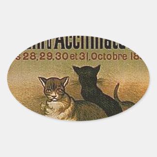 Pegatina Ovalada Anuncio francés del vintage - gatos