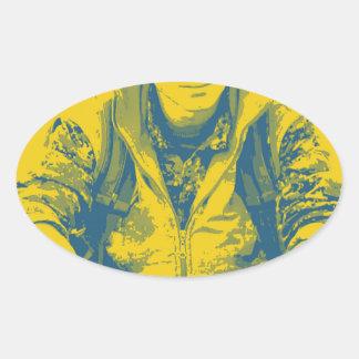 Pegatina Ovalada Arte 4 del soldado 3 de YPG