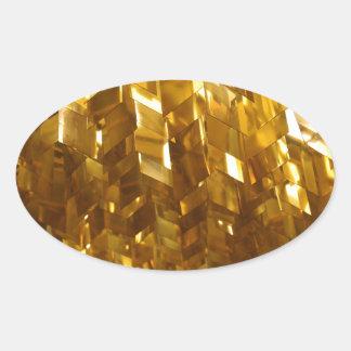 Pegatina Ovalada Arte abstracto del techo del oro
