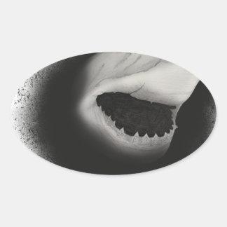 Pegatina Ovalada Ataque entintado del tiburón